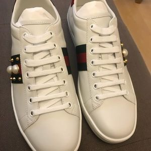 outlet store 03022 a78c5 Gucci Shoes - Gucci New Ace Leather Pearl Studded Sneakers